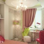 elegant Brown Wallpaper plus Pink Chair Along Lamp Standing Corner Additionally Fancy Chandelier In Spherical Ceiling Beautiful Green Pink Bedroom Curtain Design In Small Glass Window