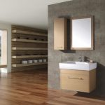 elegant Floating Picket Cabinet Complited Single Square Sink plus Drugs Strorage Beside Mirror As Effectively brown wooden Flooring Exciting Bathroom Design Concepts