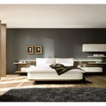 elegant Lighting Partition Headboard Additionally Grey Painting Wall also Black Rug On Laminate Flooring Exciting Home Interior Design White Couch Mattress