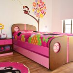 elegant Ornamental Wall Sticker Flower Image also Monkey With Massive Home windows Fashionable Ladies Bed room Furnishings Ideas With Pink Color