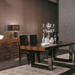 elegant Picket Eating area Design With Black Leather-based Dining Chair plus Wooden Vainness Lamps The High As Nicely Brown Wallpaper Decor also soft Brown Curtain Window