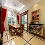 elegant Residence Interior decorations In Dining area Crystal Chandelier elegant wooden Eating Table Also Black Gold Vainness Underneath Frame Also White Red Curtain Glasses Window also brown Granite Ground