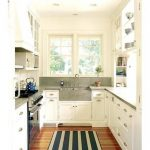 elegant Single Window marble Sink Ideas Tones Rug On Cool Small Galley Kitchen Design