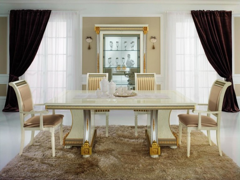 elegant White Gold Dining Desk Design In Fashionable Dining area concept Ideas As Properly fabric Striped brown dining Chair Also Brown Furry Rug Along With Elegant Darkish Color Curtain Glasses Window Beside Glasses Furniture Cabinets Concepts