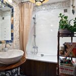 elegant White sink plus Vintage Pendant Lamp also Blue Ceramic Floor Decoration Ideas For Small Bogs Bathroom Luxurious Small Toilet With Wood Lined Bathtub