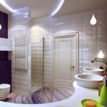elegant White violet Tile Wall plus Towel Rail Beside Seat Bathroom also Pendant Lamp Sink Good Rest room Ornament Ideas With Striped Pattern Ground