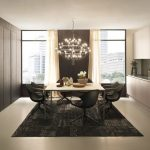 elegant dark Eating Chair As Well Chandelier Above Additionally White Cabinet Kitchen In The Close by Beautiful Gray Dining Room Rug Ornament Under White Dining Table