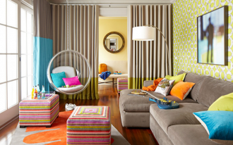 elegant girls teen room with magnificent dark gray sofa and cute assorted color sqaure chairs also interesting floor lamp with yellow wall paper pattern and large framed window overlooking outside view