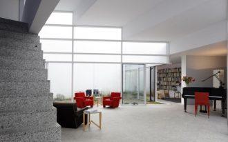 elegant red little sofa marble stairs black elegant piano mini library