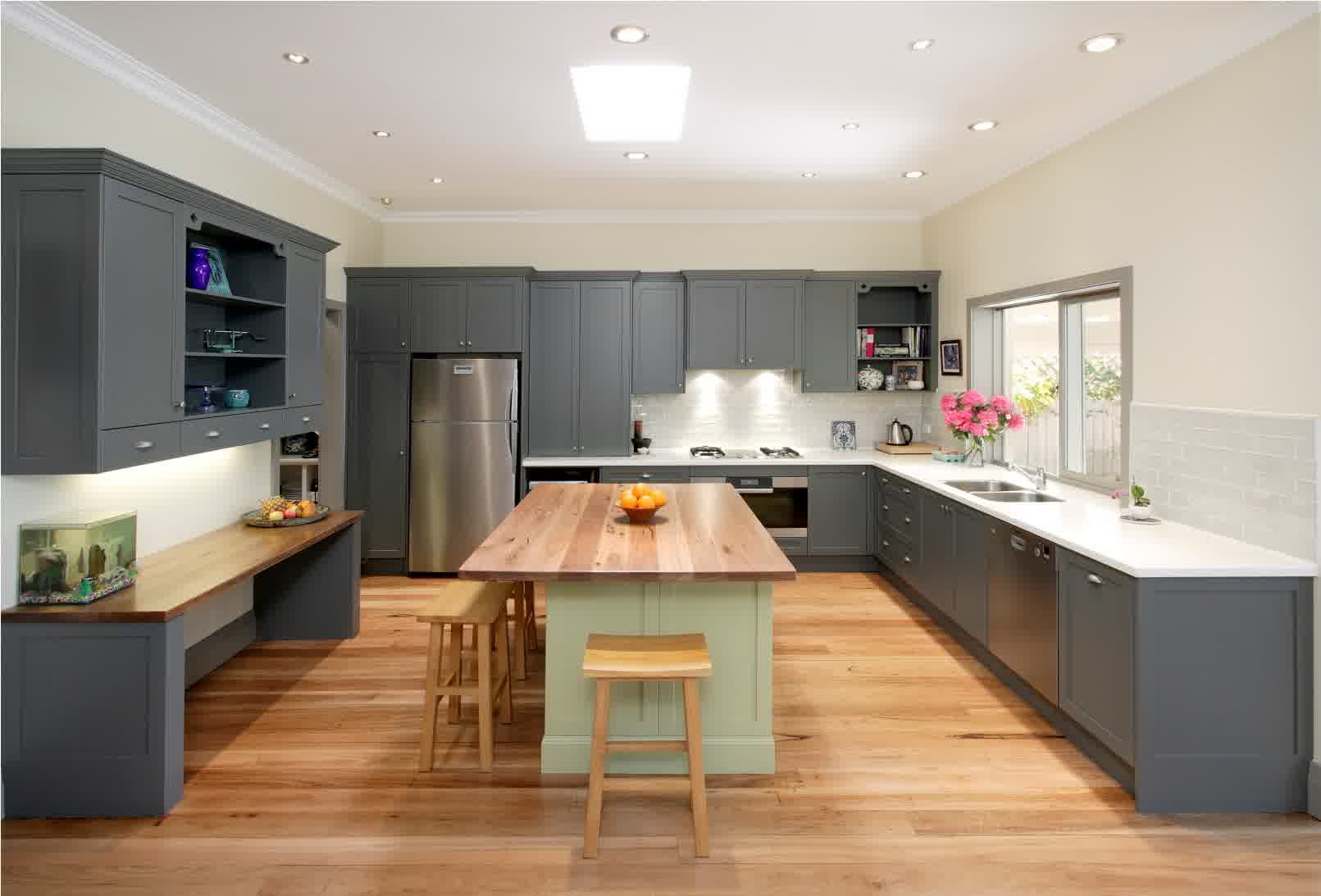 Enchanting Expansive Kitchen Style With Gorgeous Dark Grey Cabinet And Cute  Wooden Chair With Large Wooden