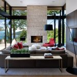 enchanting modern l-shaped living room with buil-in media wall also interesting open large glass window design feat cozy fur rug in laminate flooring