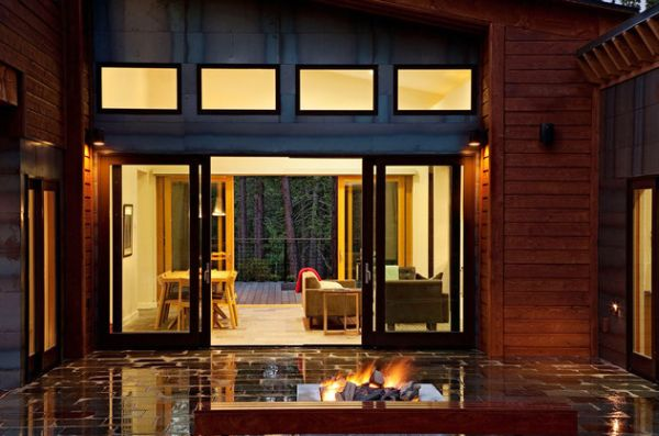 Enchanting Sliding Door Glass Idea With Ravishing Wooden Wall Panel Also  Glossy Patio Design With Ample