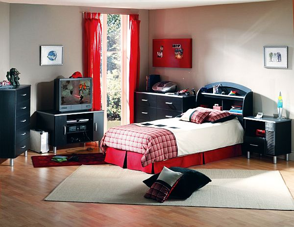 Enchanting Teenage Boys Room With Low Profile Bed And Elegant Red Curtain  Also Mesmerizing Black Cabinet