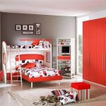 enchanting teenage girl bedroom with gorgeous red large closet and interesting red and white bunk bed and gorgeous grey painted wall with glossy tile flooring concept