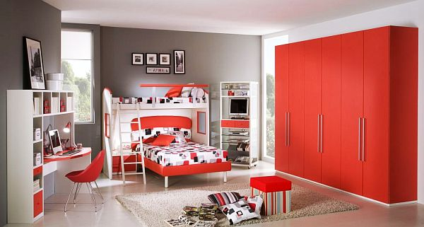 Enchanting Teenage Girl Bedroom With Gorgeous Red Large Closet And  Interesting Red And White Bunk Bed