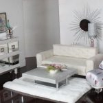 fantastic Floral Chair also Desk On White fur Rug As Nicely Body On The Wall Easy Dwelling Room decoration Mirrored Furniture Of Creative Drawers Faced