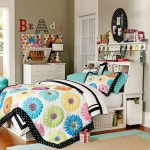 fresh teenage bedroom design with spring flower pattern bedcover also astonishing small wooden storage with warm rug design in laminate flooring concept