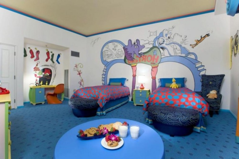 funny children room win double blue bed rounded desk beach walpapper
