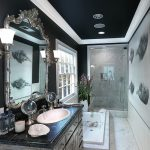 gorgeous black bathroom with black ceiling ideas with refined small room design also interesting granite top vanity with marmer flooring idea