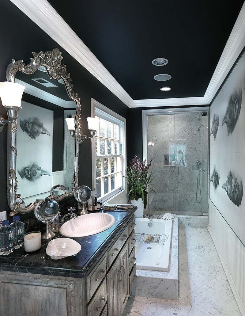 Sophisticated Black Bathroom To Create Natural Ambiance ...