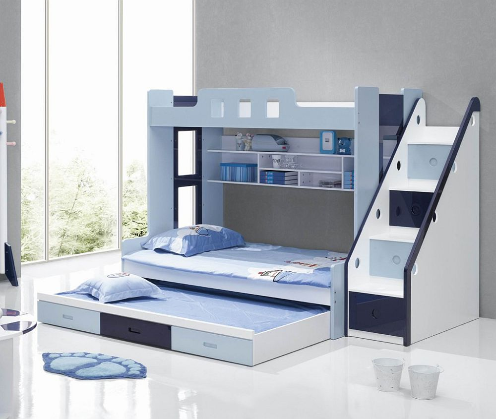 Gorgeous Blue And White Bunk Bed With Triple Matrass Also Elegant Stairs  With Buil In