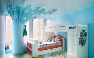 gorgeous bohemian kids room with elegant white separated bunk bed and cute teak wooden bed with decorative rug in blue wall decal
