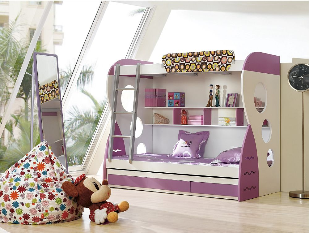 Gorgeous Purple Bunk Bed With Simple Gray Ladders And Magnificent Sloping  Windows With Gorgeous Flowery Pattern