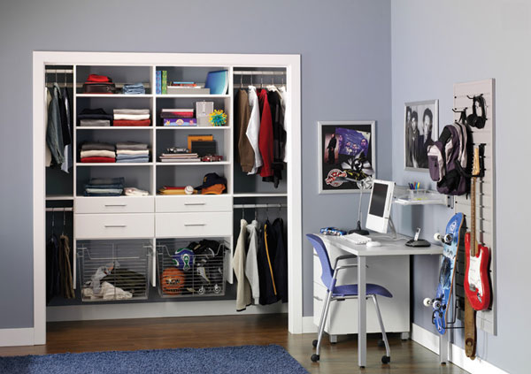 Gorgeous Room For Kids With Buil In Closets Idea Also Small Study Space  Feat Elegant