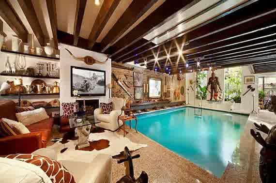 Swimming pool walls showing rustic decor