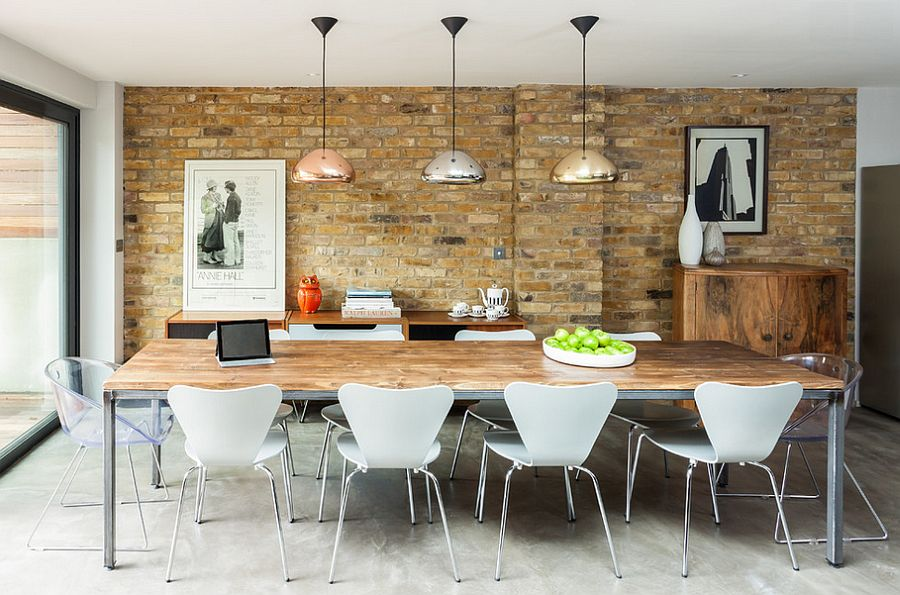 Brick Wall Shiny Metal Pendant Lamps Wooden Surface Metal Dining Table