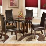 great Spherical Dining Desk Set On Brown Rug Including Laminate Wooden Floor As Effectively Red Shades Window Stunning Dining Room co ncept Dark Brown Leather Eating Chair