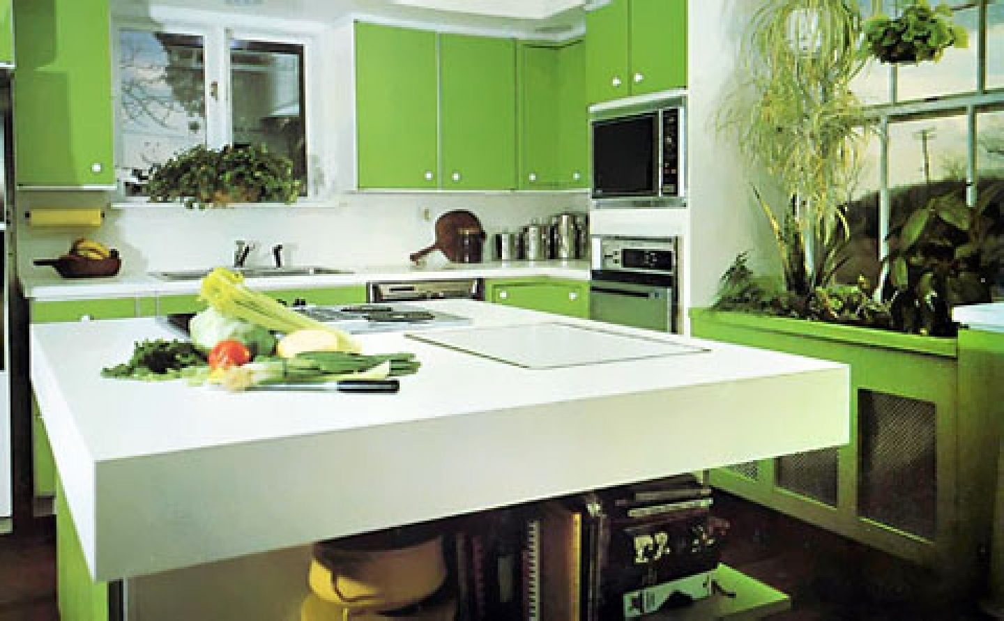 Kitchen 101 creating healthier and greener kitchen for Green and white kitchen designs