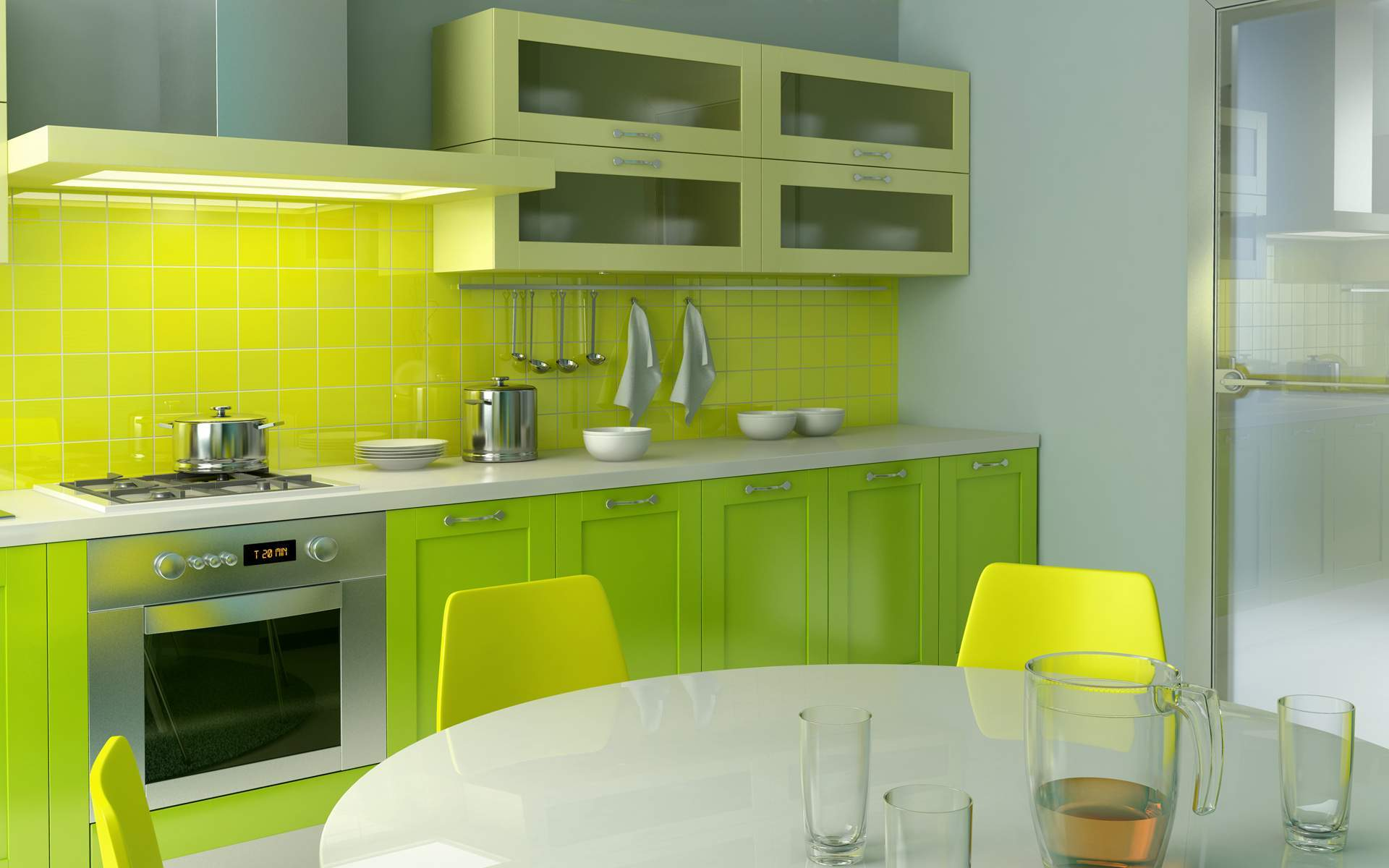 Orange And Green Painted Kitchens how to sprinkle your kitchen with colors? | homesfeed
