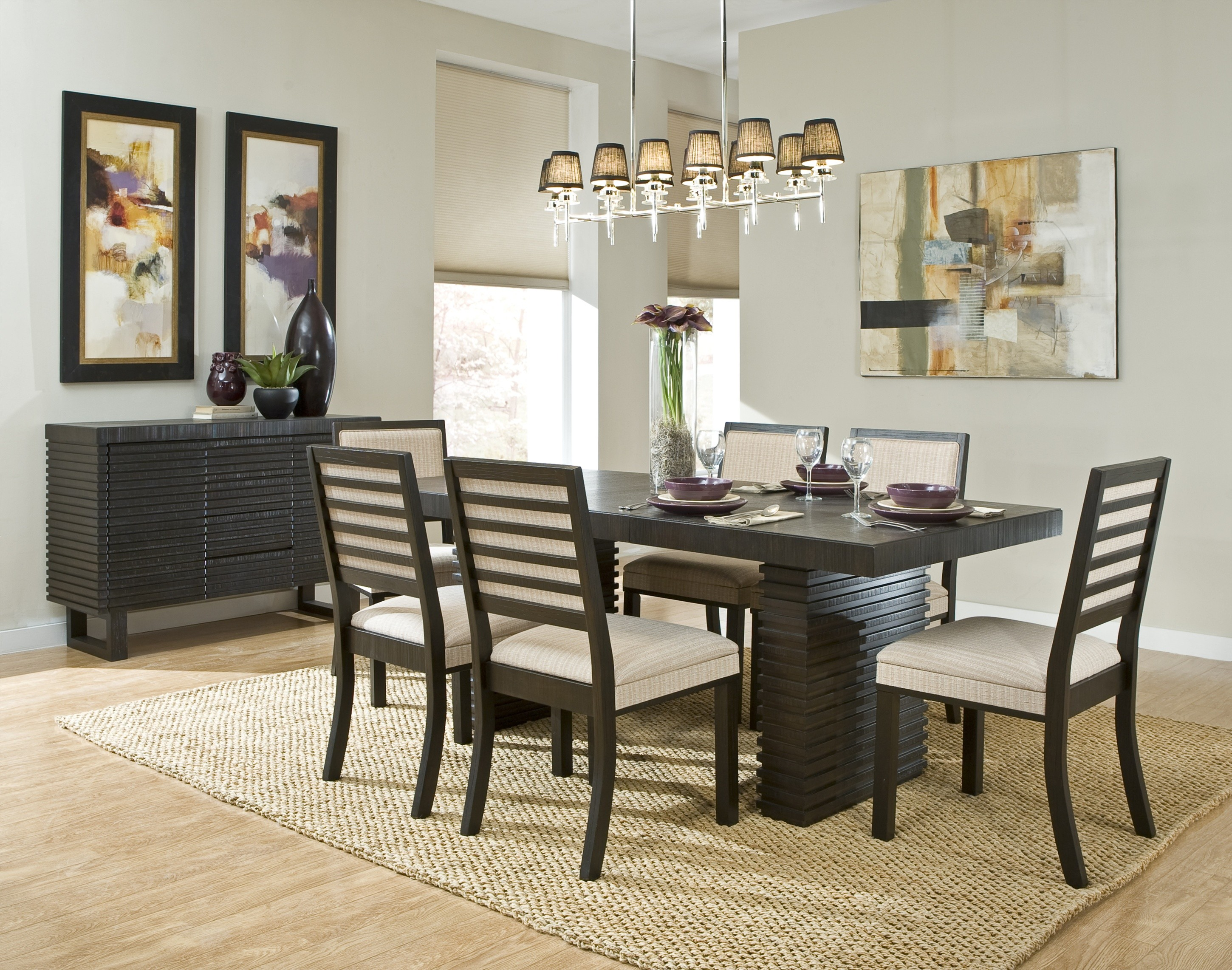 Hardwood Flooring Black Side Table White Wall White Ceiling Two Toned Dining  Chairs Black Dining Table