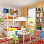 hardwood flooring colorful striped rug white table green and blue chairs white bunkbed white open shelf white wall white ceiling white blind green table lamp white framed window green pink and blue cabinet
