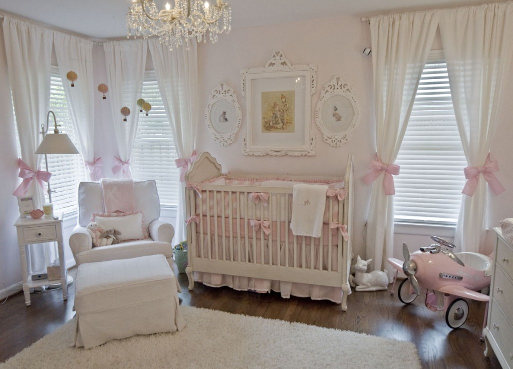 Hardwood Flooring Luxurious Chandelier White Blinds White Curtains With  Pink Ribbon White Easy Chair White Crib