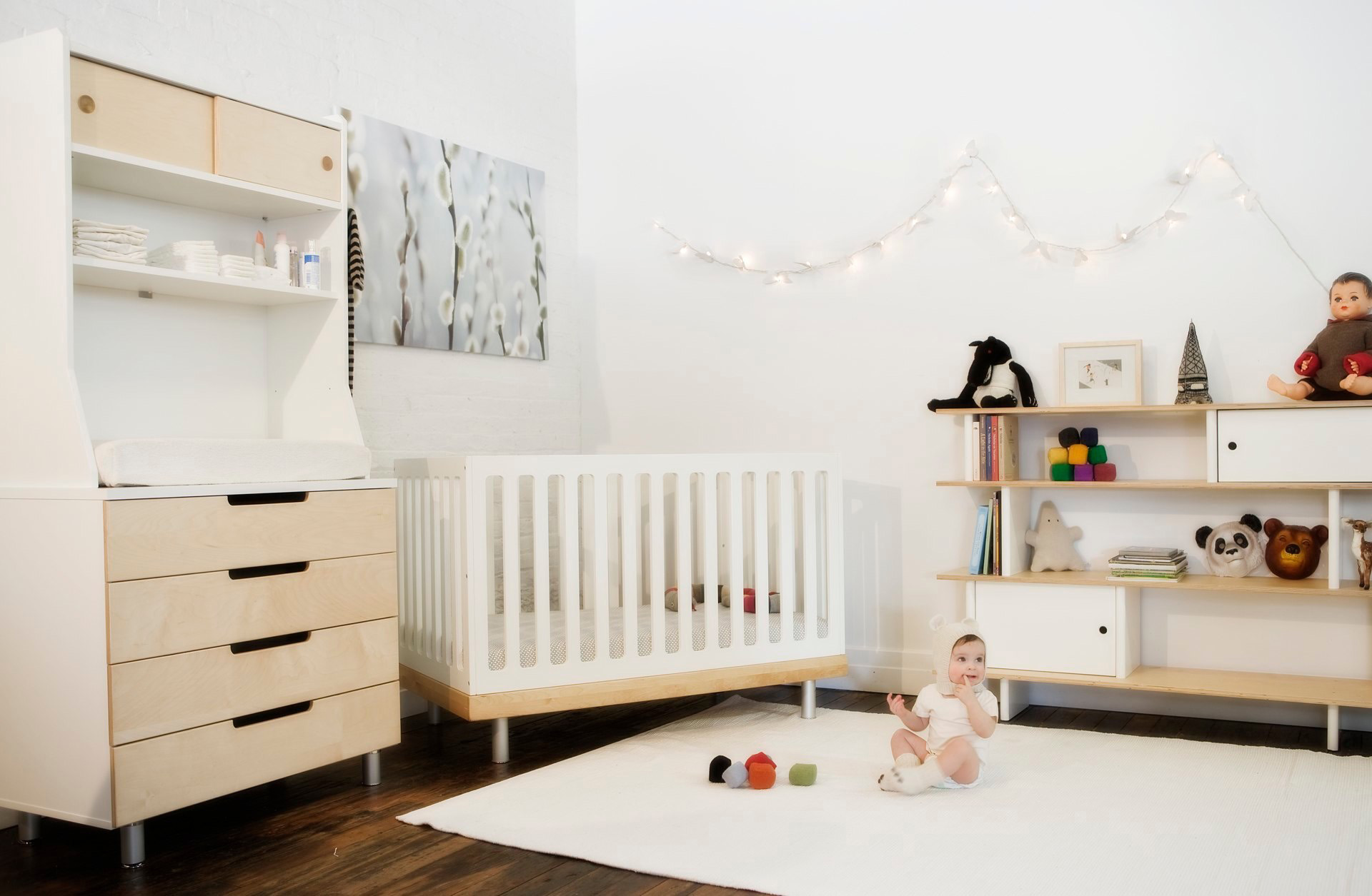 hardwood flooring white rug simple white wooden crib white wall white and  light brown wood open. Refreshing Go Green Design for Nursery   HomesFeed