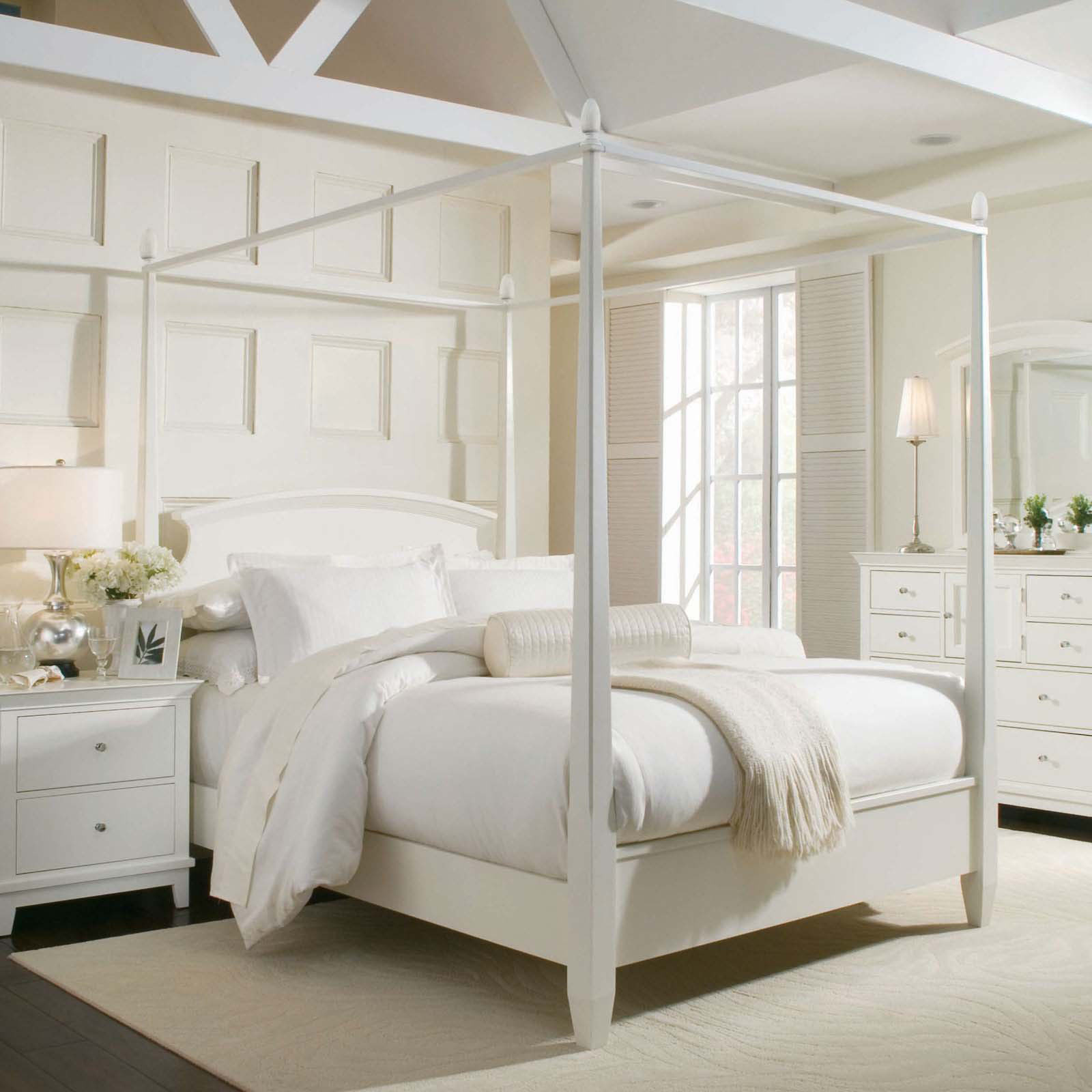 Silver Canopy Bed Frame Part - 39: Hardwood Flooring White Ruh White Cabinet White Framed Mirror White Side  Table White Silver Table Lamps