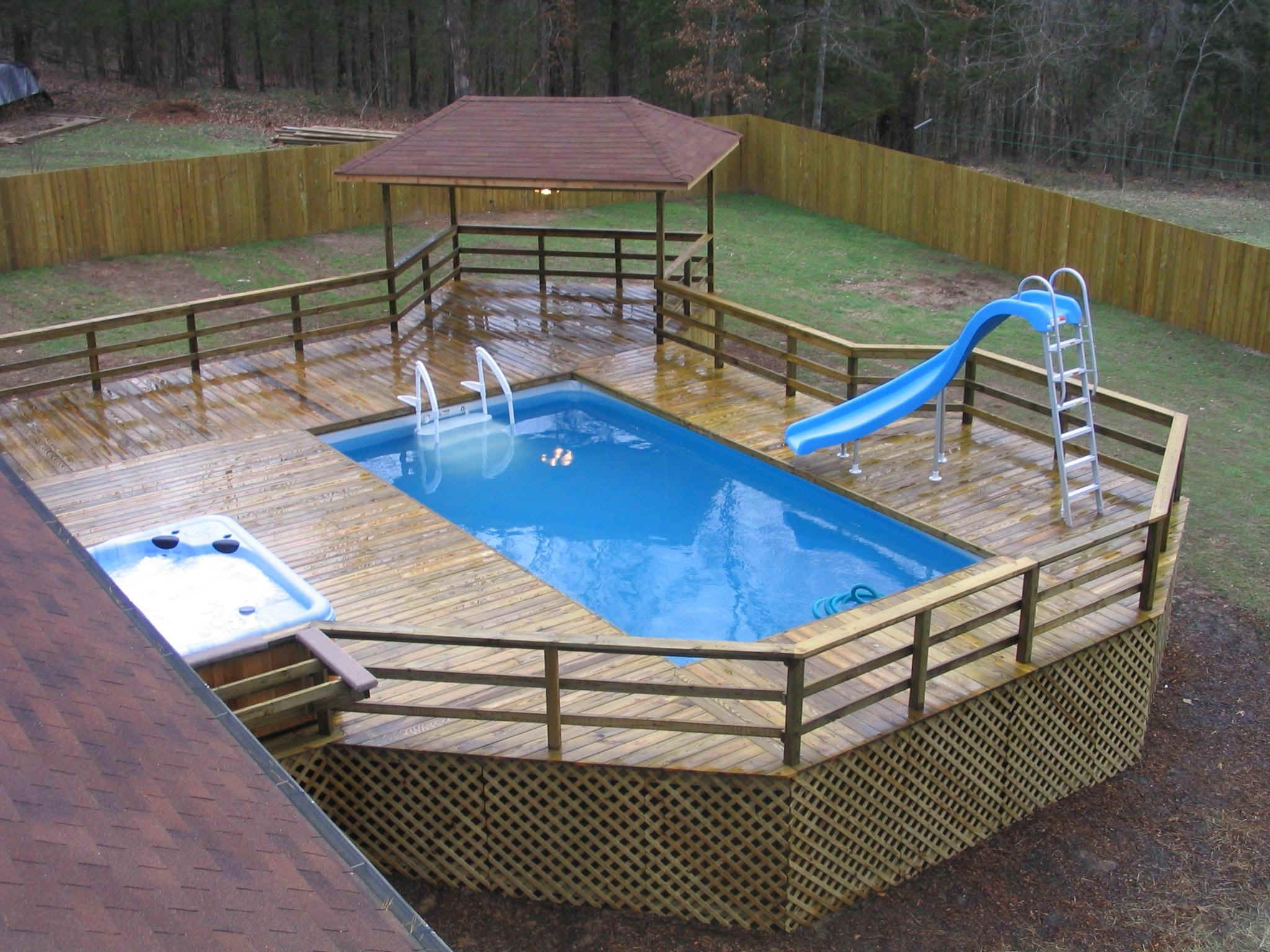 In Deck Recangular Swimming Pool Wooden Floor Small Gazebo Refreshing Jacuzzi