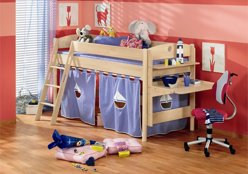 Interesing Kids Bunk Bed With Elegant Ladder Also Interesting Rent Concept  With Built In Study Desk