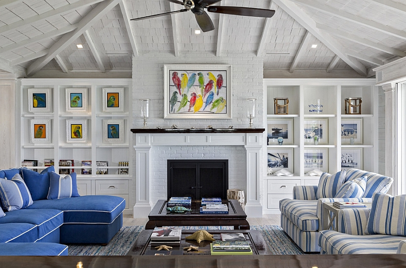 Beach Colors Living Room Part - 27: Interesting Beach Style Living Room With Fresh Assorted Color Also Elegant  Stripes Blue And White Sofa