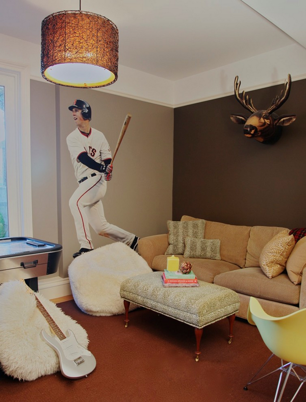 Interesting Boys Teen Lounge With Gorogeus Brown And Cream Accent Wonderful Baseball Player Wall Painting