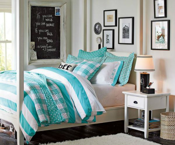 Interesting Chic Aquamarine Bedcover Also Chalkwall Faet Elegant Desk Lamp And Mini Wooden Table Feat Wonderful Teenage Bedroom
