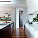 interesting kitchen architecture with white accent also a hint of gray accent feat undermount sink in laminate flooring
