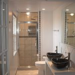 interesting small bathroom gorgeous twins washbowl mesmerizing glass door cute creamy tile walling