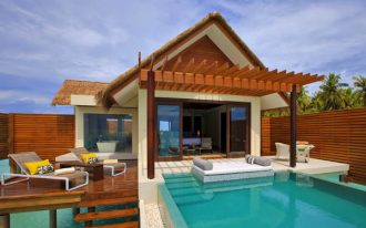 interesting swimming pool in hotel with cozy wooden lounge chair and yellow cushion with hardwooden ceiling idea