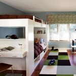 interesting teenage boys room with large white bunk bed also interesting assorted square carpet with amazing small office design in glossy laminate flooring