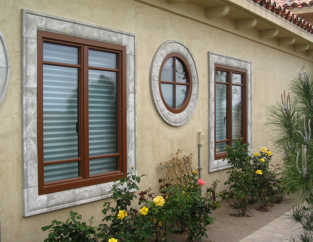 Interesting Windows Exterior Style With Circle And Square Shape Feat  Elegant Cream Wall Decal Also Beautiful