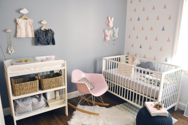 Light Blue Painted Wall White With Colorful Triangle Picture Cimple Crib Pink Cute