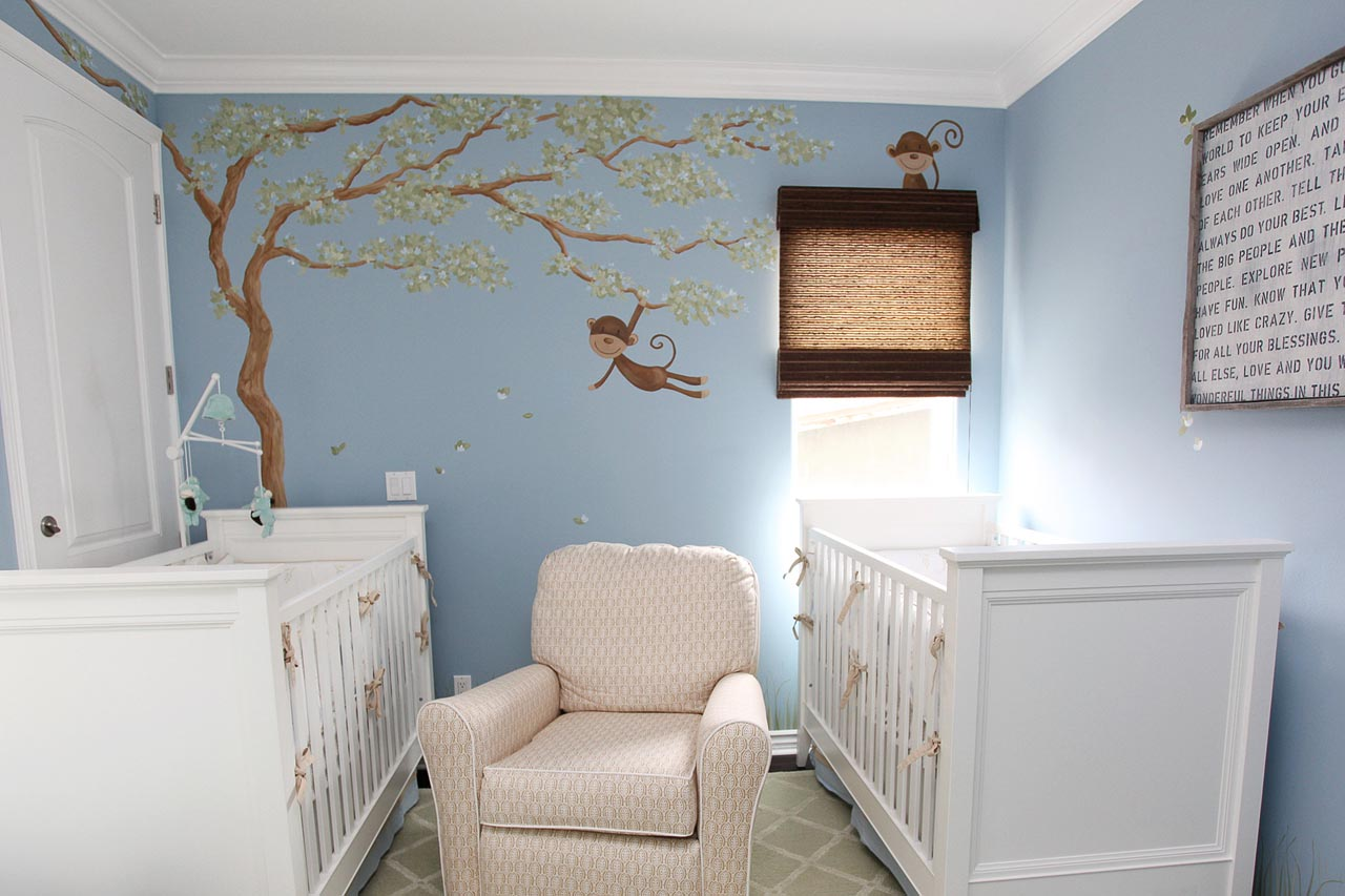 Baby cribs rocking - Light Blue Painted Wall With Painted Picture Double White Cribs Patterned Creame Rocking Chair White Painted Ceiling Patterned Floor Rug Cute Baby Nursery